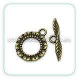 Cierre 013 - Flor y Hoja bronce antiguo ACCCIE-C27764 (10 unidades)