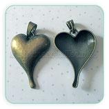 Colgante corazón muy  grande liso con colgante clip  COLOOO-R30542