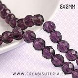 Abalorios -  Cristal facetado 6x6mm color añil/Violeta  P03 (50 unidades aprox.)