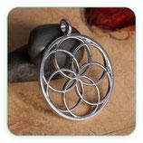 Colgante Espiritual - Flor de la vida plateado anilla trasversal - C77168