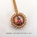 "Producto Acabado - Medalla religiosa - Modelo redondo20mm dorado ""Virgen del carmen dorada""M004"