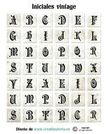 Lámina de iniciales formato cuadrado  sepia