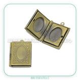 Colgante guardapelo rectangular bronce viejo COLGUA-C22666H