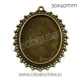 Camafeo oval puntitos 30x40mm bronce antiguo CAMBAS-C001 (10 unidades)