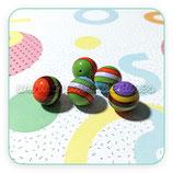 Lote abalorios de resina de colores vivos ochenteros a rayas 18mm agujero 1,5mm ( 10 unidades)