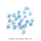 Abalorio cristal negro bicono facetado 4mm azul claro electrochapado ( tira de 98 abalorios aprox)