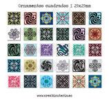 Lámina 30  Imágenes ornamentos cuadrados I 25x25mm