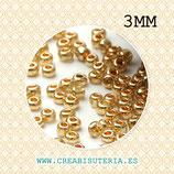 Abalorios -  Cristal de colores, rocalla- electrochapado  3mm aprox.   dorada  20gr P01R004-3mm
