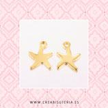 INOX - Colgante acero inoxidable DORADO Estrella de mar lisa mini- 6 UNIDADES