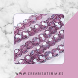 Abalorios -  Cristal facetado  4mm color púrpura brillo electrochapado  P1522 (100 piezas)