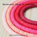 Abalorio arcilla Katsuki polimérica redondo plano 6,5mm (380/400 unidades apro) pack  tonos Granate/Fucsia/Rojo/Salmón