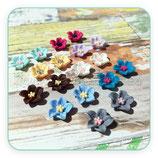 Cabuchón Resina flor 5pétalos Nuevos colorines (9 parejas) P060