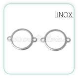 INOX - Conector acero inoxidable redondo hueco grande  (6 unidades) C72727