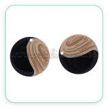 Colgante Resina - Pieza redonda 25mm . Imitación madera y negra (2 unidades)