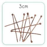 BASTON ALFILER CON CABEZA BOLA cobre - 3cm 0,7mm (30unid)ACCBAS-C32458