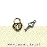 Charm corazón cerradura & llave bronce  (10 juegos)
