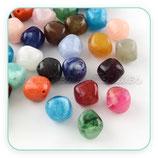 Abalorio acrílico imitación piedra en forma  bicono 18x18x17mm  (5 pares colores variados)