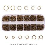 Accesorios - Anillas - caja de anillas Bronce viejo de 6 diámetros diferentes