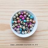 Bolsita abalorios acrílicos efecto purpurina colores surtidos