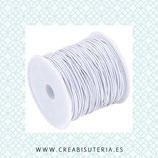 Cordón de goma elástica 1mm Blanco Carrete 21 metros