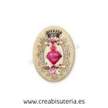 Cabuchón Cristal Religión - Sagrado Corazon vintage corona