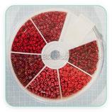 Abalorios -  Cajita redonda 6 tonos de color rojo