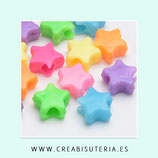 Bolsita 50 flor/estrella lisa  acrílicas colores vivos  agujero grande 3,5mm P272 (50 piezas)