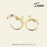 INOX - Dorado Gancho pendiente  clip cerrado redondito ACERO INOX  DORADO  P210 (5 pares)