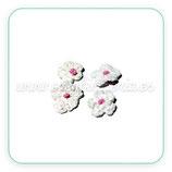 Adorno 4 Flores de ganchillo blanco punto rosa ADO-C107101