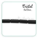 Abalorio cristal tubo negro 6x15mm ( tira de 22 abalorios aprox) ABAL-Cristal C28257