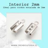 INOX - Terminales de aplastar redondeado aplastado mediano  para cuerda de 2mm 9,5x4,5x3,5mmP1543 (20 unidades)