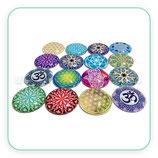 LOTE ÚNICO - cabuchones espirituales, mandalas y flores de la vida (16 unidades, 30mm )