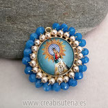 "Producto Acabado - Medalla religiosa - Modelo redondo20mm dorado ""El Pilar"" tono Azul"