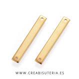 Charm / conector - INOX - Barra dorada rectangular conectora plana acero inoxidable dorado  (4 unidades) P2121