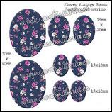 Imagen Flores Rosas sobre Azul Vintage