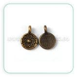 Charm Flor  triskel en medallita bronce viejo   (15 unidades) CHAOOO-P0159Y-NF