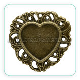 Camafeo crazón ornamental bronce antiguo fino CAMBAS-C11963 (10 unidades)