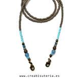 "Producto acabado - Cordón para mascarilla modelo ""rocalla regular gris y cristal AZUL 003 """