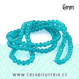 Abalorio cristal Azul claro craquelado 6mm (140 unidades)  ABAL-Cristal C22383