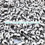 Abalorios -  Cristal de colores rocalla bicolor  rayas Negro/ Blanco 4/3,5mm  20gr YRP41B