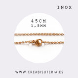 INOX - Cadena con cierre inox chapado en oro finita 1,5mm  corta 45cm  Inox 203F