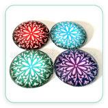 Cabuchón Cristal ilustrado Mandala en 4 colores New* 16 pétalos