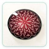 Cabuchón Cristal ilustrado Mandala tonos granates New* 16 pétalos