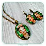 Conjunto Frida Kahlo fondo verde