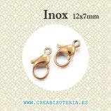 INOX - Mosquetón acero inoxidable dorado mediano 12mm (5 unidades) P35201