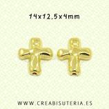 Abalorio Cruz Dorada modelo  irregular- P A018  (20 Unidades)