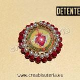 """Producto Acabado - Medalla religiosa - Modelo redondo20mm dorado """"Detente"""" M001 perla y cristal granate"""