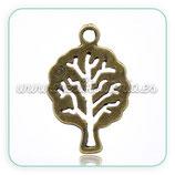 Charm árbol pequeño hueco bronce antiguo COLOOO-C14030 (10 unidades)