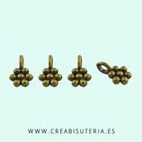 Charm Flor pequeñita 9mm  bronce viejo - anilla perpendicular (50 unidades) P16412