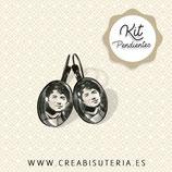 KIT Pendientes clip 13x18mm bronce viejo Rosalía de castro sepia